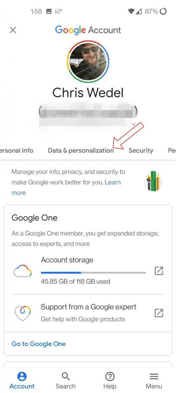 Google Account Privacy Screenshot