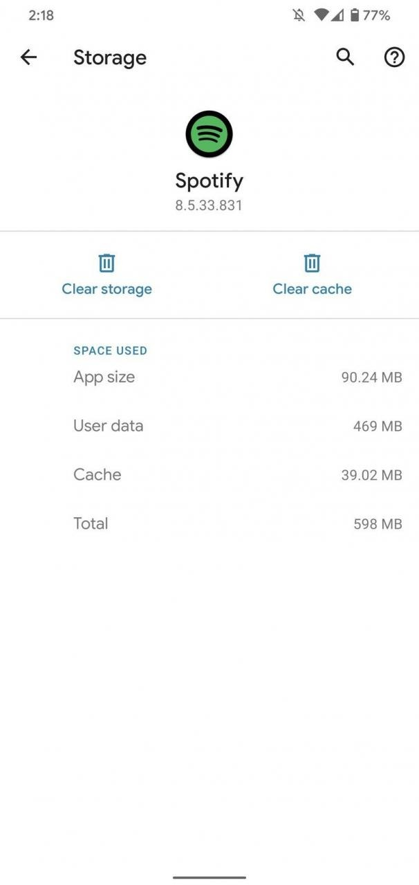 Clearing app data storage for the Spotify app