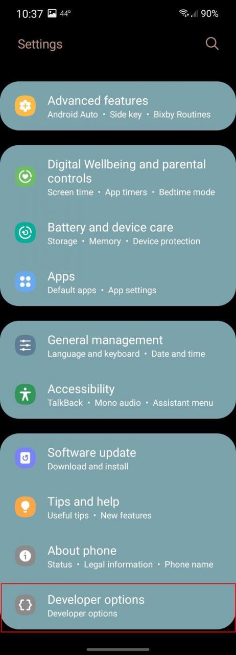 Samsung Settings Screenshot